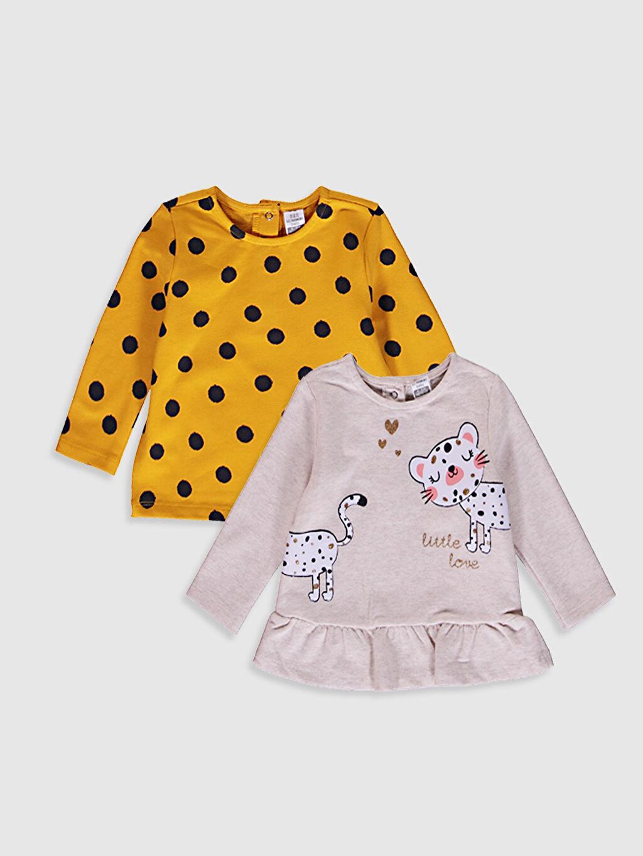 Bej Kız Bebek Baskılı Tişört 2'Li 0W3274Z1 LC Waikiki
