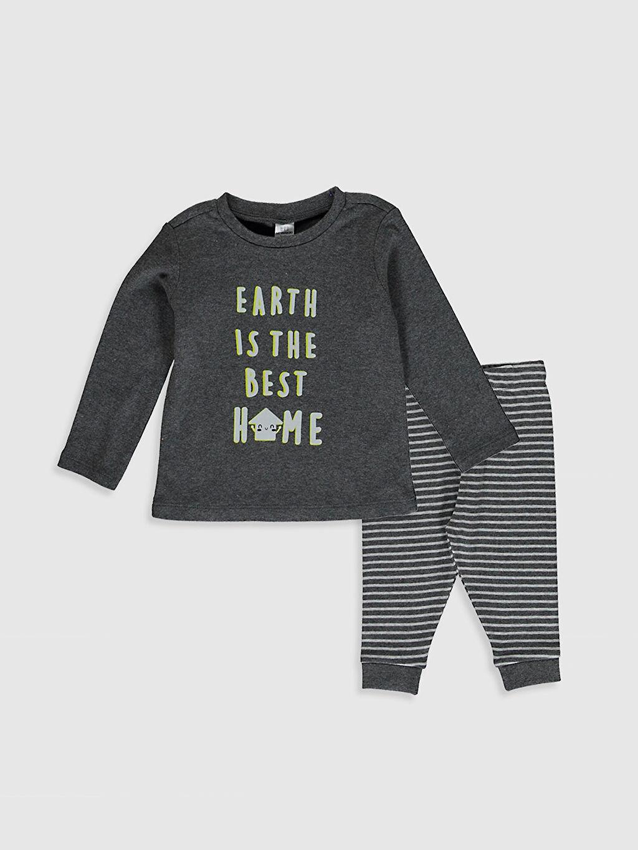 Antrasit Erkek Bebek Baskılı Pijama Takım 0W3416Z1 LC Waikiki