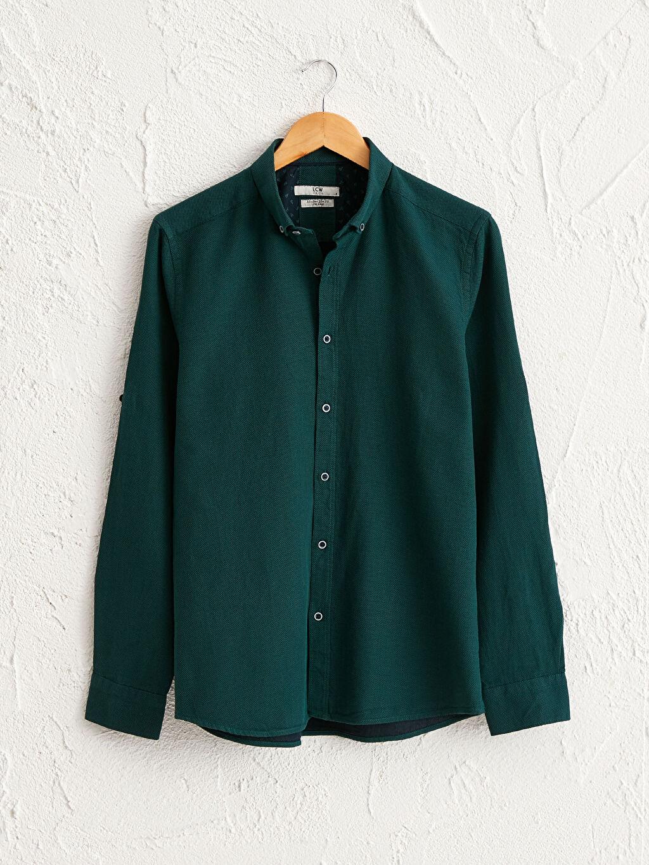 Yeşil Slim Fit Uzun Kollu Armürlü Gömlek 0W3433Z8 LC Waikiki