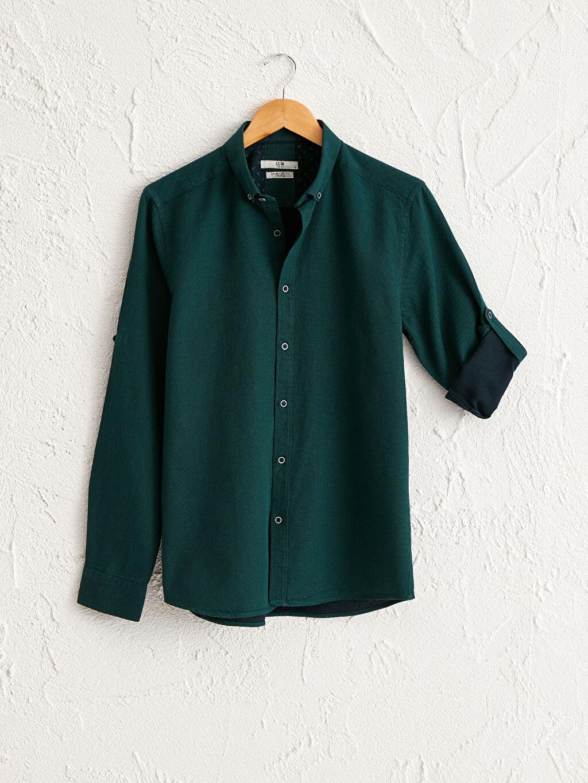 %100 Pamuk Gömlek Patlı Orta Kalınlık Diğer Uzun Kol Düğmeli Gömlek Yaka Slim Fit Uzun Kollu Armürlü Gömlek