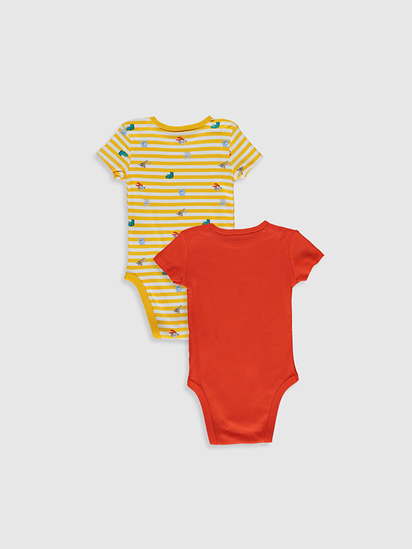 %100 Pamuk Baskılı Bisiklet Yaka Kısa Kol Ribana Çıtçıtlı Body Erkek Bebek Baskılı Çıtçıtlı Body 2'Li