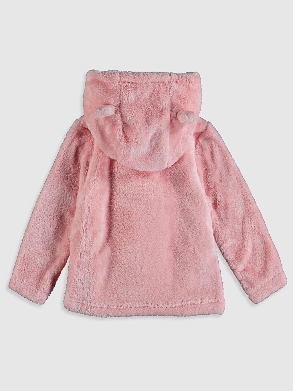 %100 Polyester Kapüşon Yaka Hırka Polar Kapüşonlu Uzun Kol Düz Kız Bebek Peluş Hırka