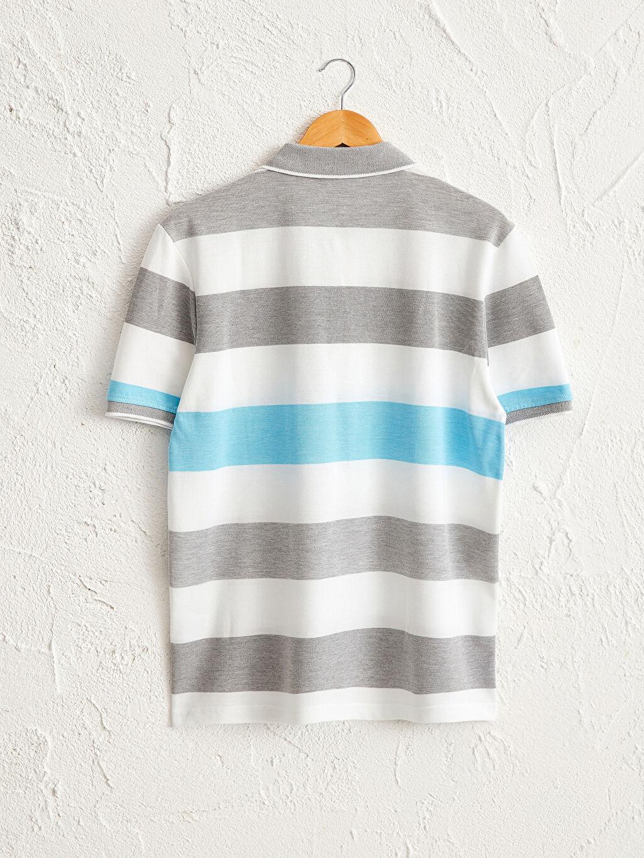 %91 Pamuk %9 Polyester Polo Yaka Kısa Kol Çizgili Bol Tişört Rahat Kalıp Polo Yaka Çizgili Tişört