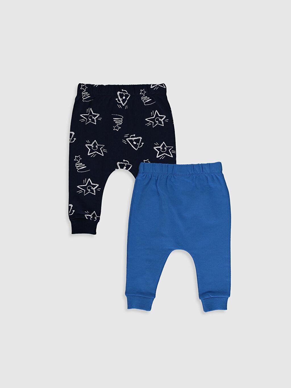 %97 Pamuk %3 Elastan Pantolon İki İplik Erkek Bebek Pantolon 2'Li