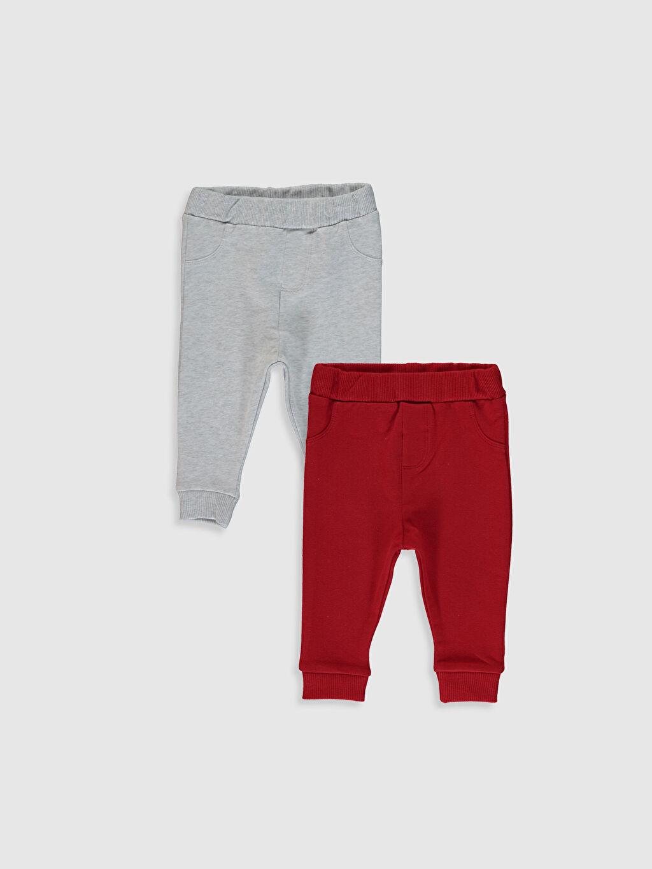 %95 Pamuk %5 Elastan Pantolon İki İplik Erkek Bebek Eşofman Alt 2'li