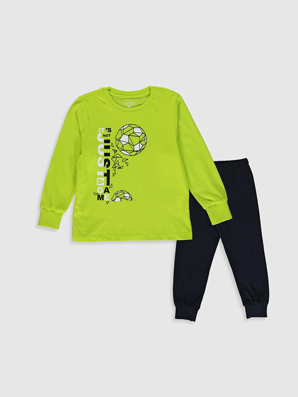 Yeşil Erkek Çocuk Baskılı Pamuklu Pijama Takımı 0W5942Z4 LC Waikiki