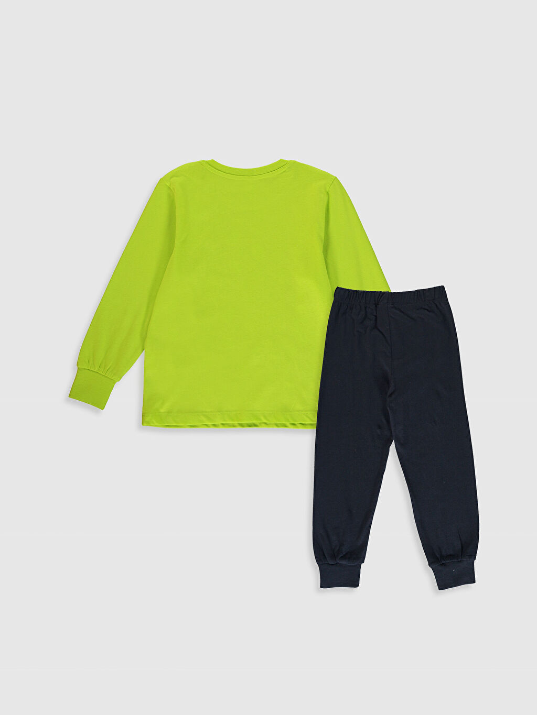 %100 Pamuk Baskılı Pijama Takım Bisiklet Yaka Günlük Uzun Kol İnce Erkek Çocuk Baskılı Pamuklu Pijama Takımı