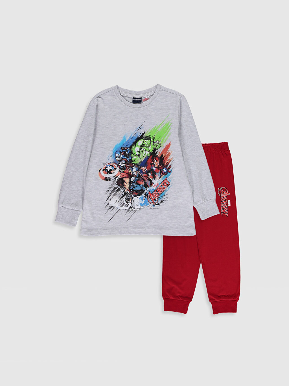 Gri Erkek Çocuk Avengers Baskılı Pijama Takımı 0W5964Z4 LC Waikiki