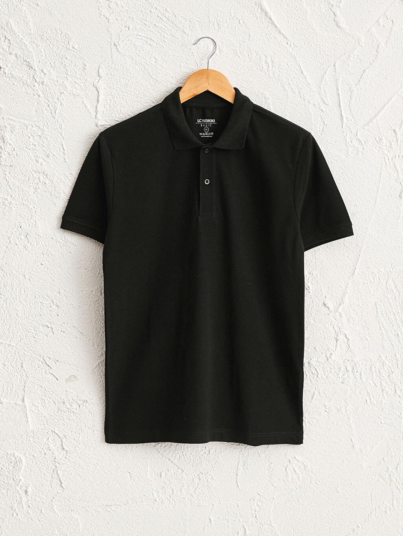 Siyah Polo Yaka Kısa Kollu Basic Pike Tişört 0W6595Z8 LC Waikiki