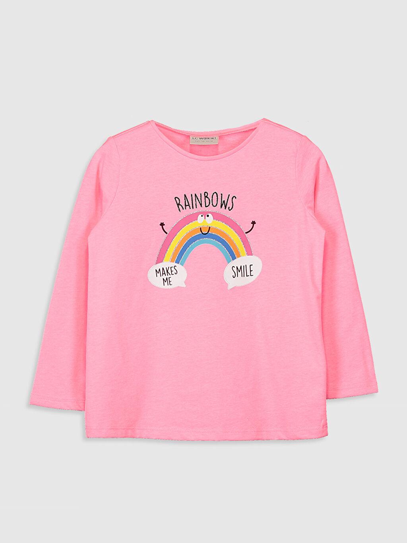 Pembe Kız Çocuk Baskılı Tişört 0WG503Z4 LC Waikiki