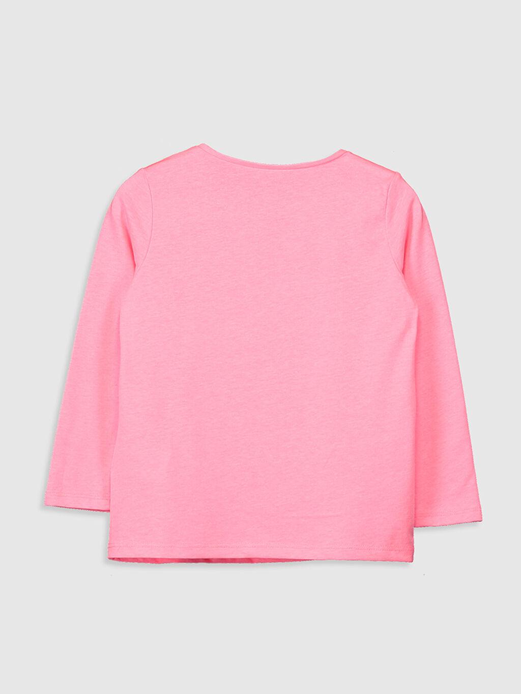 %48 Pamuk %52 Polyester Standart Baskılı Tişört Bisiklet Yaka Uzun Kol Kız Çocuk Baskılı Tişört