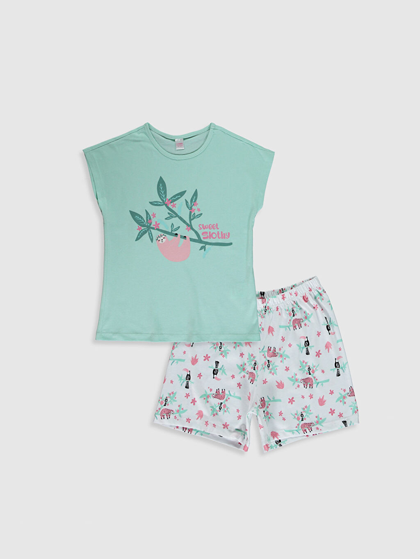 Yeşil Kız Çocuk Baskılı Pamuklu Pijama Takımı 0WAF64Z4 LC Waikiki