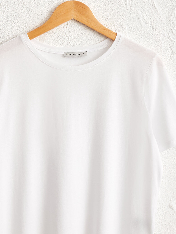 Kadın Bisiklet Yaka Pamuklu Basic Tişört