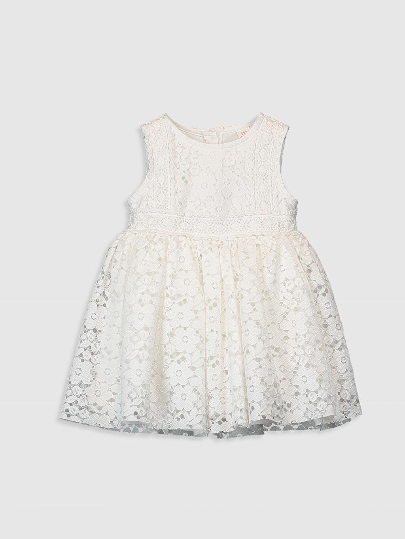 Ekru Kız Bebek Dantelli Elbise 0WAJ13Z1 LC Waikiki