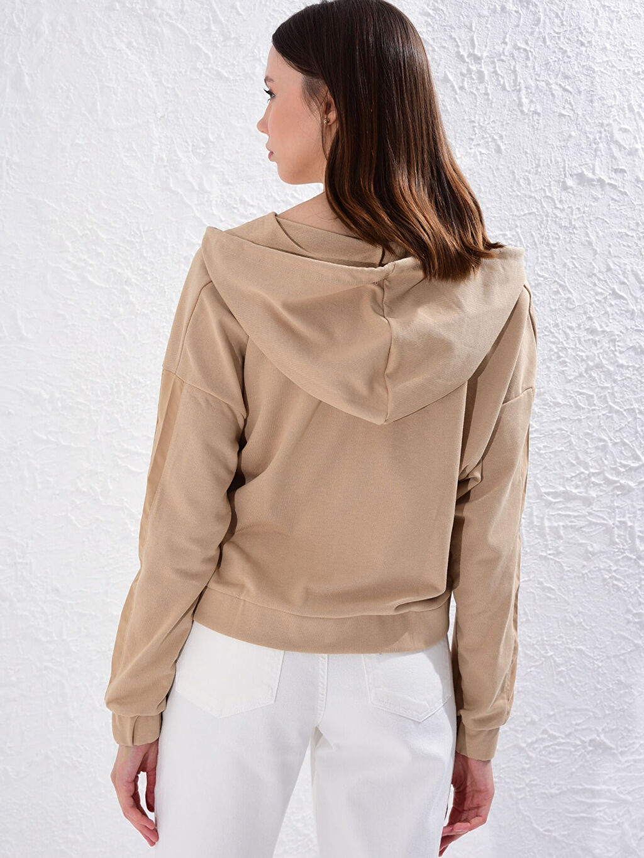 %49 Pamuk %51 Polyester Kapüşonlu Fermuarlı Sweatshirt