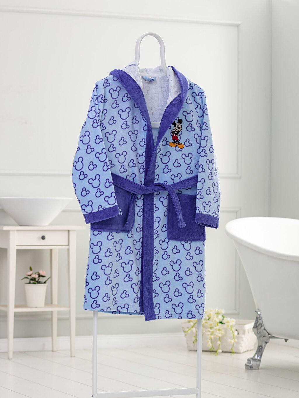 Mavi Erkek Çocuk Mickey Mouse Lisanslı Kapüşonlu Bornoz 9WP881Z4 LC Waikiki