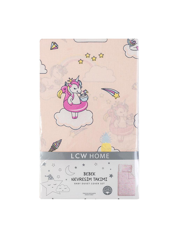 Çok Renkli Kız Bebek Unicorn Baskılı Nevresim Takımı