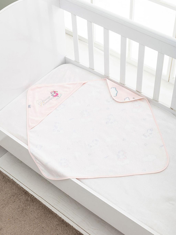 %100 Pamuk Kadife Bebek Havlusu Unicorn Baskılı Bebek Banyo Havlusu