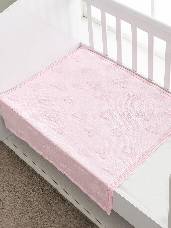 %100 Pamuk Triko Orta Kalınlık Bebek Battaniyesi Kendinden Desenli Bebek Kalp Desenli Triko Battaniye