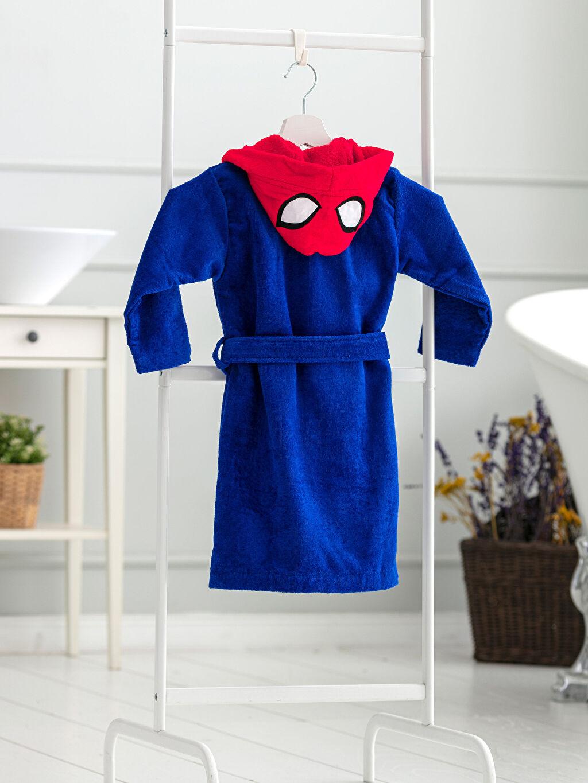%100 Pamuk Kapüşon Yaka Kısa Kadife Çocuk Bornoz Erkek Çocuk Spiderman Lisanslı Kapüşonlu Kadife Bornoz