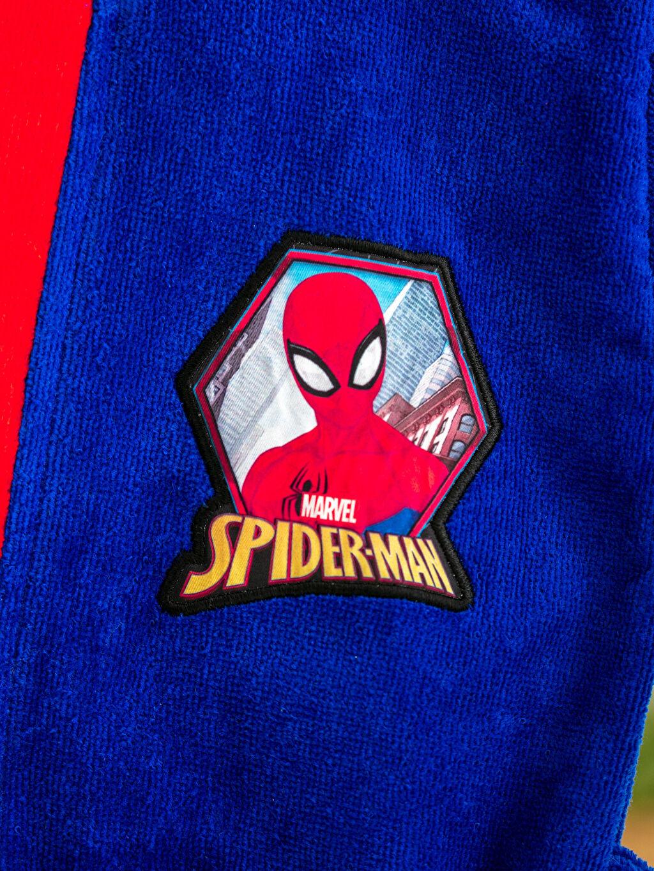 %100 Pamuk Erkek Çocuk Spiderman Lisanslı Kapüşonlu Kadife Bornoz