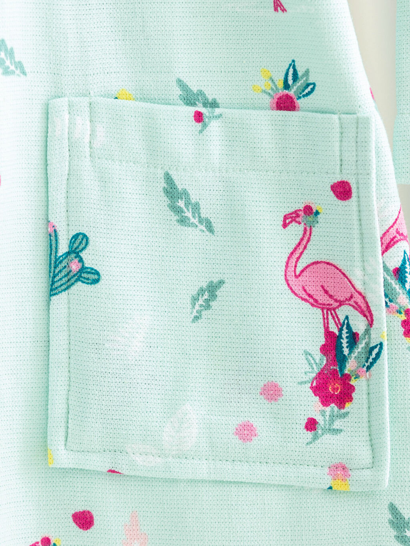 %100 Pamuk Kız Çocuk Flamingo Baskılı Kapüşonlu Bornoz