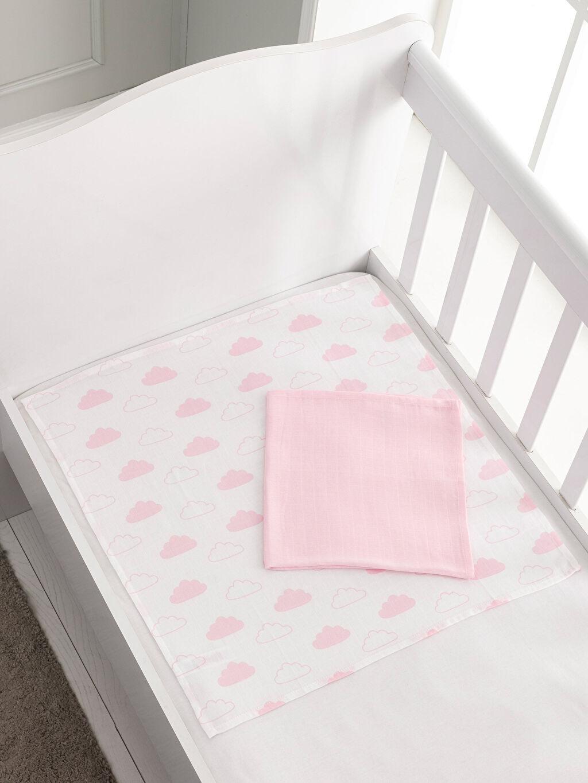 %100 Pamuk Bebek Battaniyesi Kız Bebek Müslin Bez 2'li