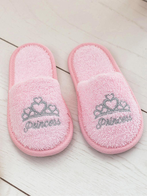 %100 Pamuk Banyo Terliği Kız Çocuk Prenses Nakışlı Banyo Terliği