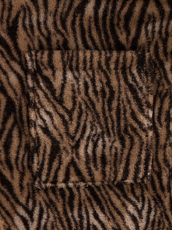 Zebra Desenli Kadın Bornoz