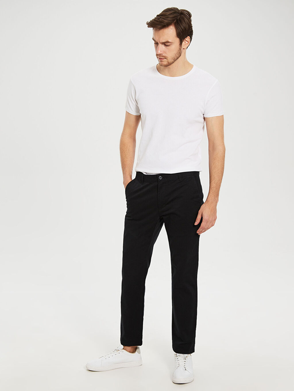 %97 Pamuk %3 Elastan Chino Pantolon Düz Normal Kalıp Chino Gabardin Chino Pantolon