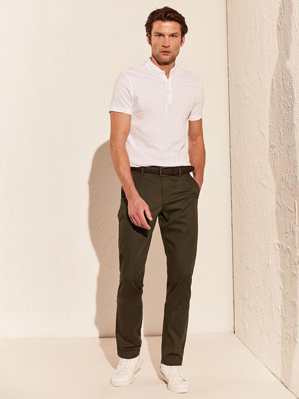 %100 Poliüretan %97 Pamuk %3 Elastan Normal Bel Dar Pantolon Poplin Çizgili Aksesuarsız Slim Fit Esnek Pantolon