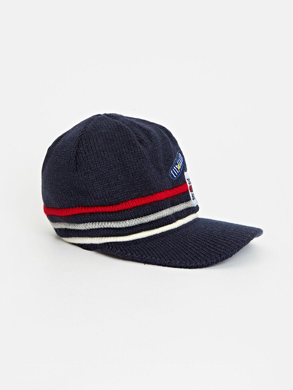 Lacivert Erkek Çocuk Triko Aplikeli Şapka  7KC498Z4 LC Waikiki