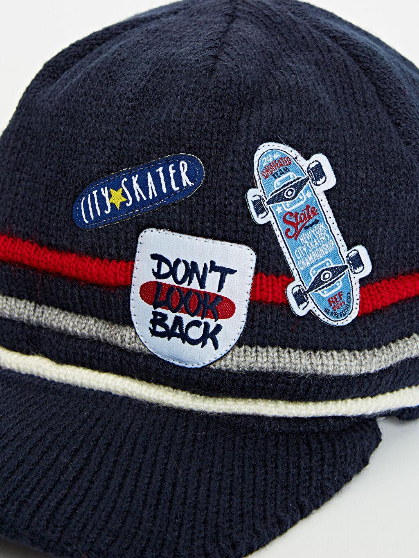 %100 Akrilik Erkek Çocuk Triko Aplikeli Şapka