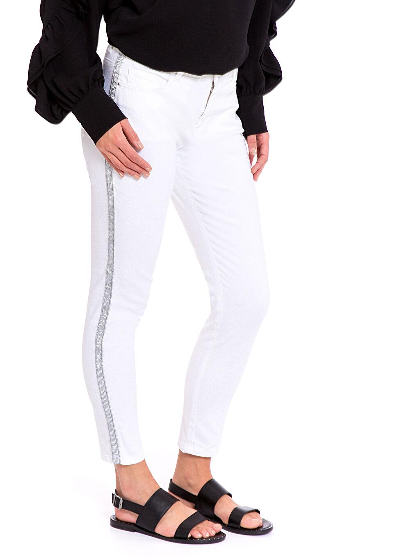 %97 Pamuk %3 Elastan Aksesuarsız Standart Normal Bel Pantolon Gabardin Gabardin Skinny Pantolon