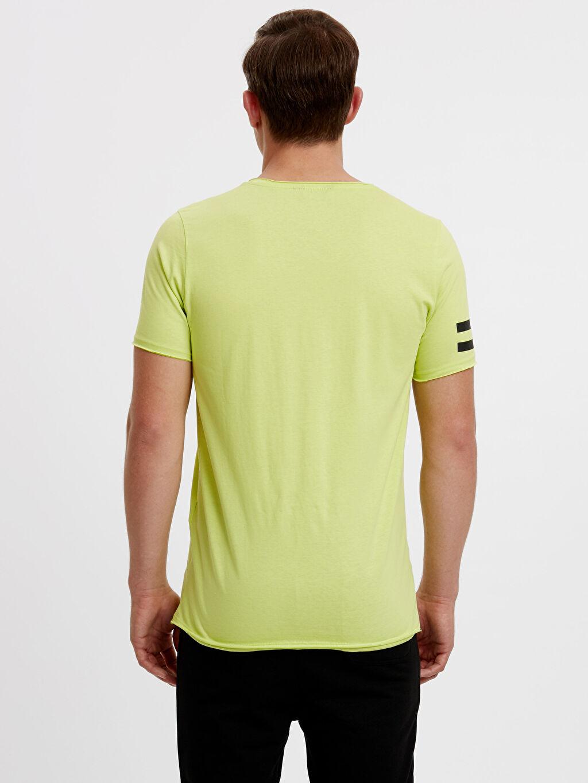 %100 Pamuk Normal Baskılı Tişört Bisiklet Yaka Baskılı Tişört