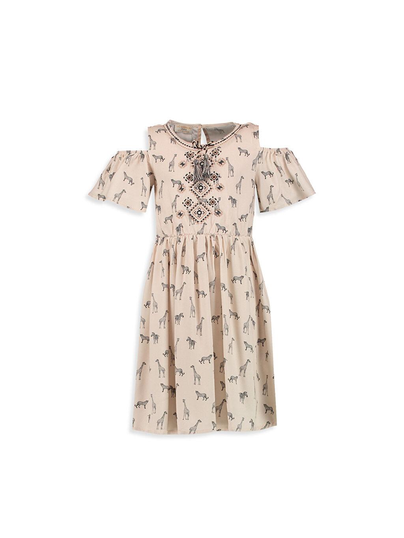 %100 Viskoz %100 Pamuk Baskılı Omuzu Açık Püskül Detaylı Baskılı Elbise
