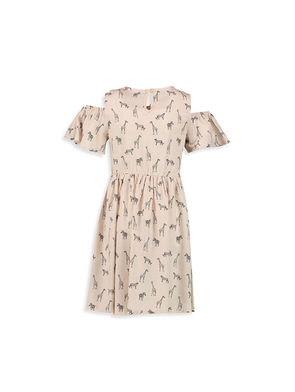 Kız Çocuk Omuzu Açık Püskül Detaylı Baskılı Elbise