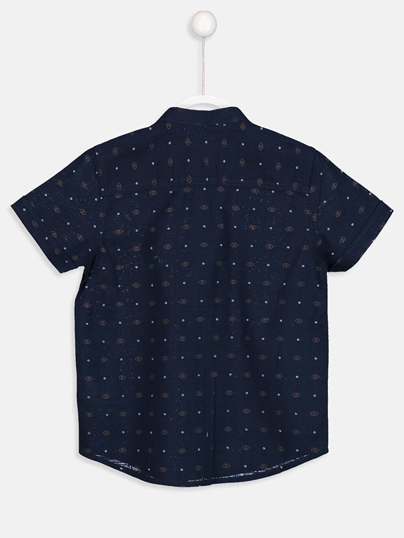 %100 Pamuk Standart Kısa Kol Baskılı Kısa Kollu Poplin Gömlek