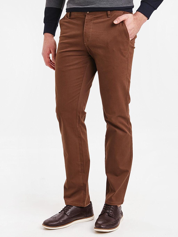 %97 Pamuk %3 Elastan Chino Pantolon Düz Normal Kalıp Chino Pantolon
