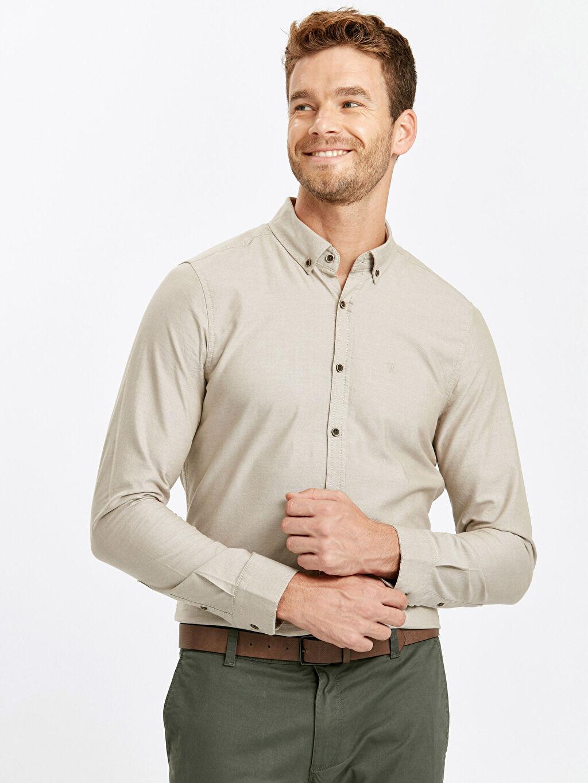 Bej Slim Fit Uzun Kollu Oxford Gömlek 8W4853Z8 LC Waikiki