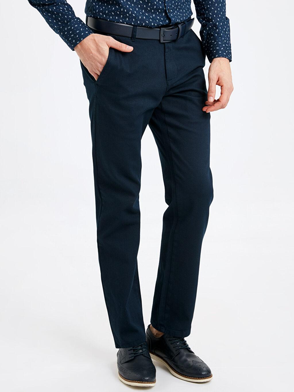 %97 Pamuk %3 Elastan Aksesuarsız Standart Normal Bel Uzun Pantolon Düz Rahat Kalıp Armürlü Pantolon