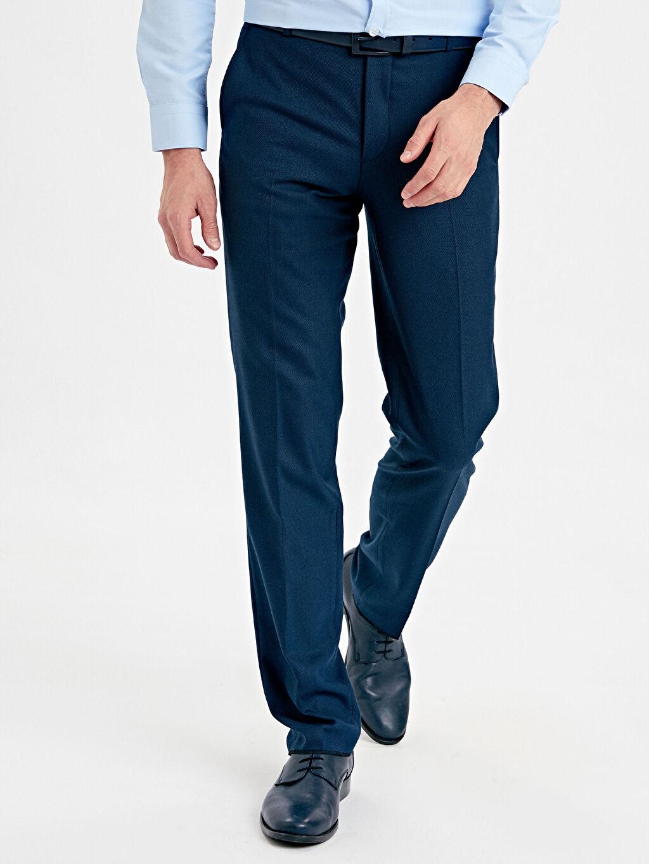 %64 Polyester %3 Elastan %33 Viskoz Normal Bel Normal Pilesiz Pantolon Standart Kalıp Armürlü Pantolon