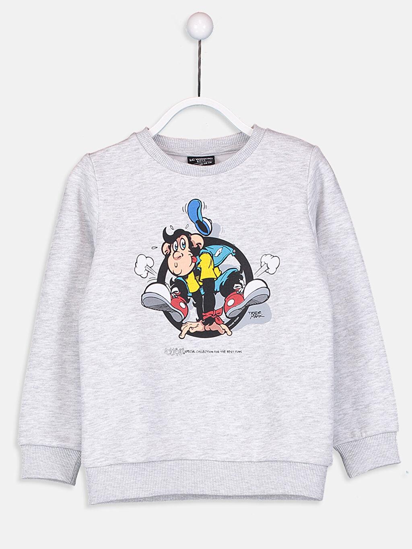 Gri Aile Koleksiyonu Erkek Çocuk Nostaljik Maymun Baskılı Sweatshirt 9W4949Z4 LC Waikiki