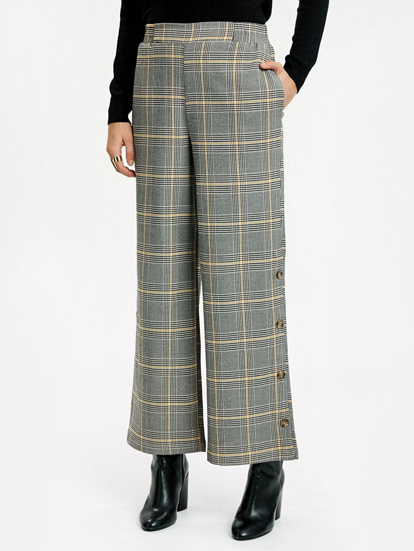 %64 Polyester %33 Viskon %3 Elastan Normal Bel Standart Geniş Paça Lastikli Bel Pantolon Beli Lastikli Ekose Palazzo Pantolon