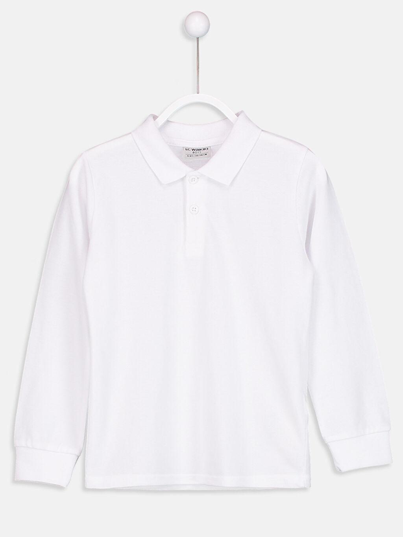 Beyaz Uzun Kollu Polo Yaka Tişört 8W0145Z4 LC Waikiki