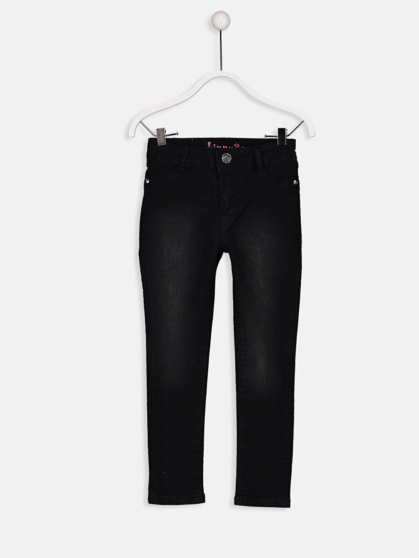 %74 Pamuk %25 Polyester %1 Elastan Normal Bel Astarsız Dar Jean Düz Dar Paça Aksesuarsız Kız Çocuk Skinny Jean Pantolon