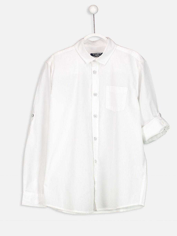 %100 Pamuk Standart Uzun Kol Düz Uzun Kollu Poplin Gömlek