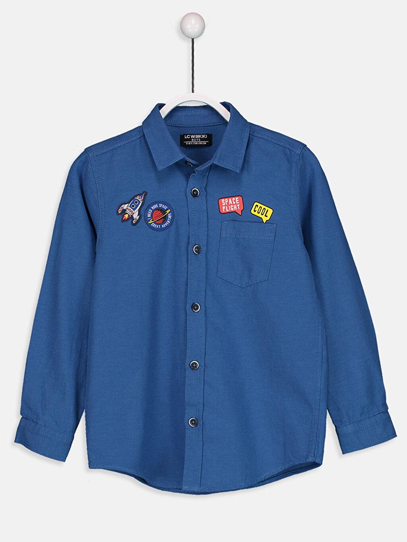 Mavi Erkek Çocuk Uzun Kollu Twill Gömlek 8W6142Z4 LC Waikiki