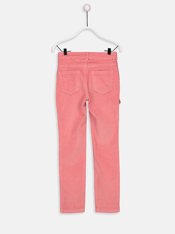 %79 Pamuk %19 Polyester %2 Elastan Normal Bel Dar Pantolon Fırfır Detaylı Slim Kadife Pantolon