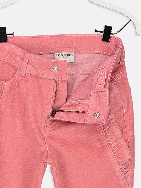 Kız Çocuk Fırfır Detaylı Slim Kadife Pantolon